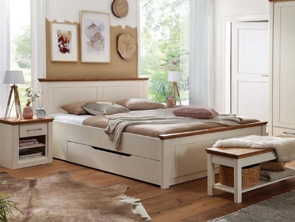Landhaus Schubkastenbett 180x200 Weiß